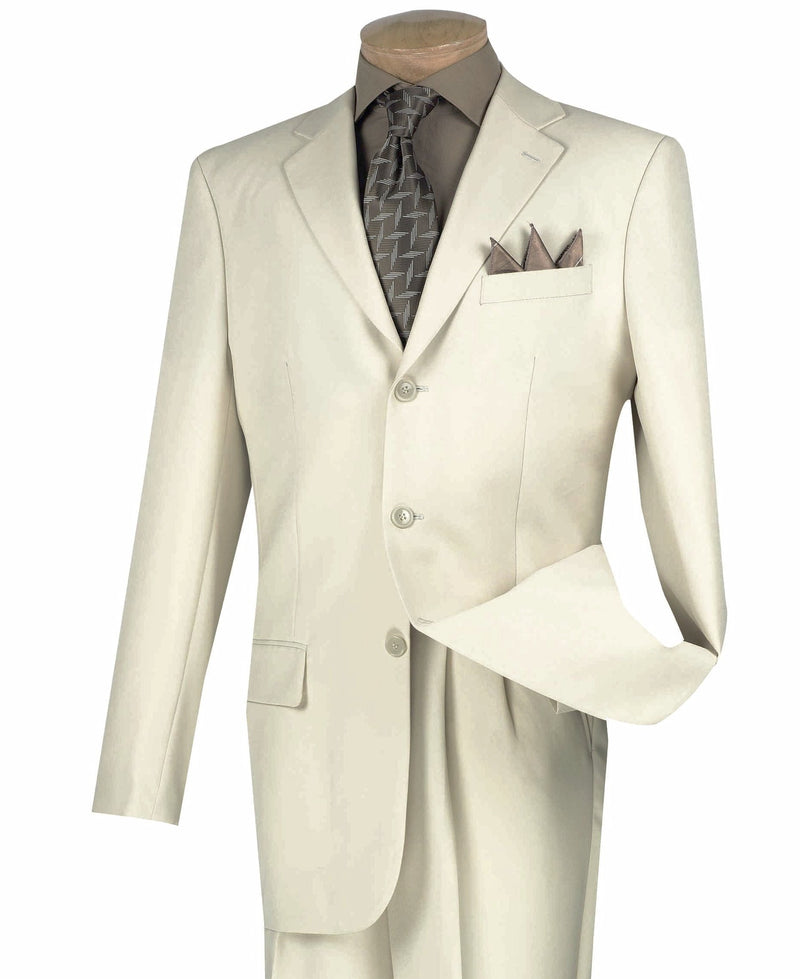 Mont Blanc Collection - Regular Fit Suit 3 Button 2 Piece in Stone - SUITS FOR MENS