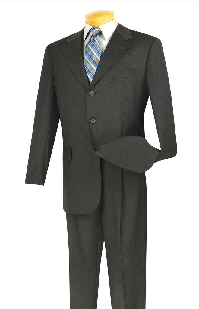 Regular Fit Men's Business Suit 3 Buttons Design Solid Charcoal - SUITS OUTLETS