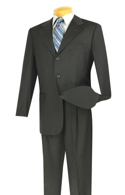 Regular Fit Men's Business Suit 2 Piece 3 Buttons Design Solid Charcoal - SUITS FOR MENS