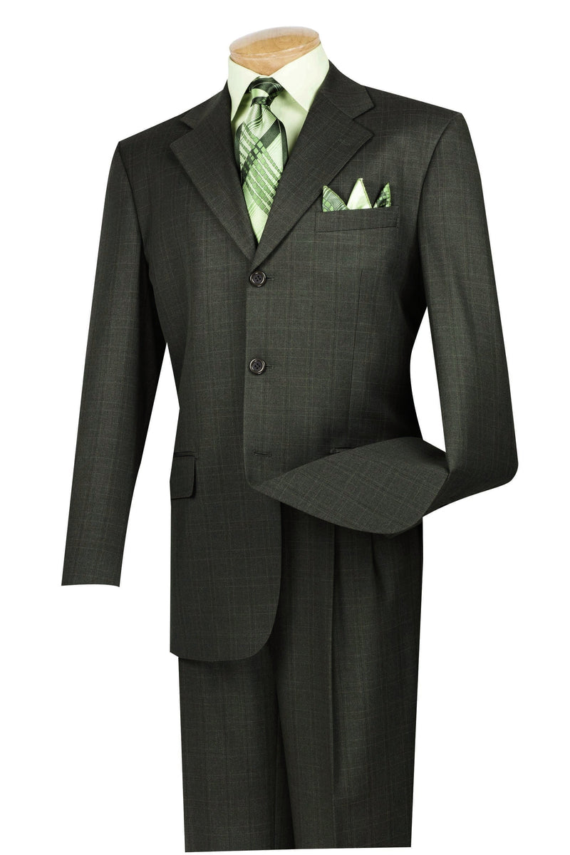 Men's Regular Fit Windowpane Suit 2 Piece 3 Button in Dark Olive - SUITS FOR MENS