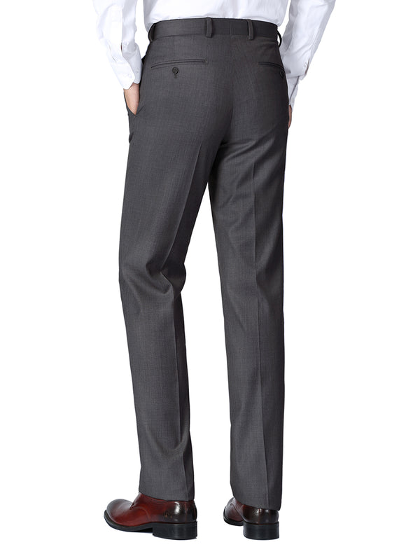 Dress Pants Regular Leg Un-Hemmed Bottoms in Charcoal - SUITS FOR MENS