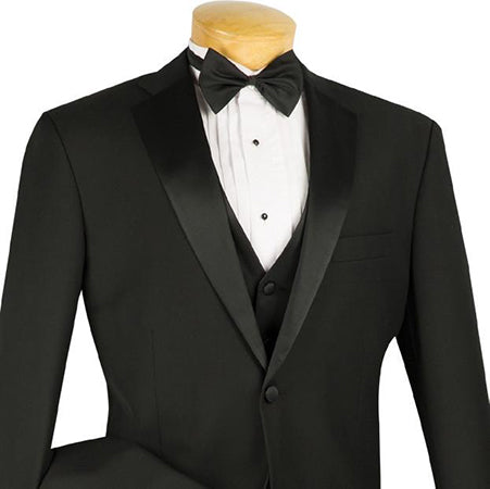 Regular Fit Black Tuxedo 4 Piece with Vest Bow Tie - SUITS FOR MENS