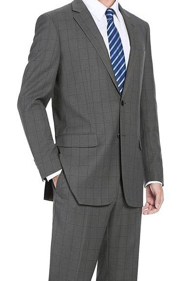 Trevi Collection - 2 Piece Suit 2 Buttons Windowpane Regular Fit In Gray