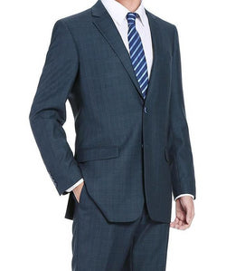 Trevi Collection - 2 Piece Suit 2 Buttons Glen Plaid Regular Fit In Blue