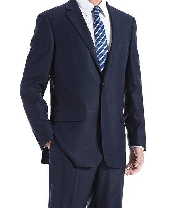 Trevi Collection - 2 Piece Suit 2 Buttons Glen Plaid Regular Fit In Navy