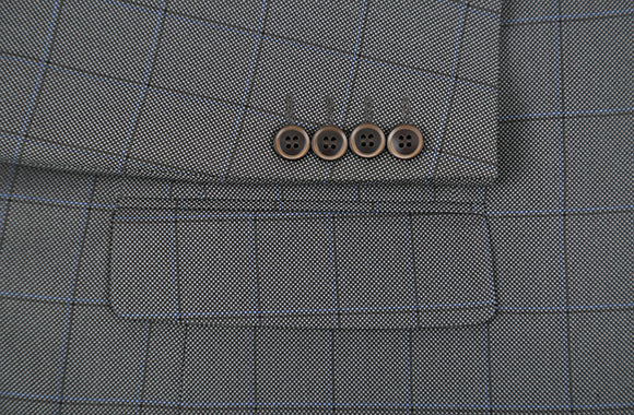 Trevi Collection - 2 Piece Suit 2 Buttons Windowpane Regular Fit In Gray - SUITS FOR MENS