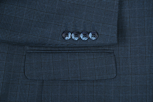 Trevi Collection - 2 Piece Stretch Suit 2 Buttons Glen Plaid Regular Fit In Blue