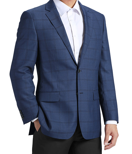 100% Wool Regular Fit 2 Button Blazer Glen Plaid in Blue - SUITS FOR MENS
