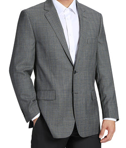 100% Wool Glen Plaid Pattern Regular Fit 2 Button Blazer in Gray - SUITS FOR MENS