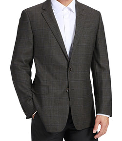 100% Wool Regular Fit 2 Button Blazer Glen Plaid in Charcoal - SUITS FOR MENS