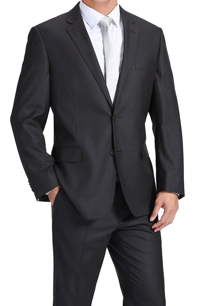 100% Virgin Wool Regular Fit 2 Piece Suit 2 Button in Charcoal - SUITS FOR MENS