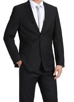 NanoTech 100% Virgin Wool Slim Fit 2 Piece Suit 2 Button in Black - SUITS FOR MENS