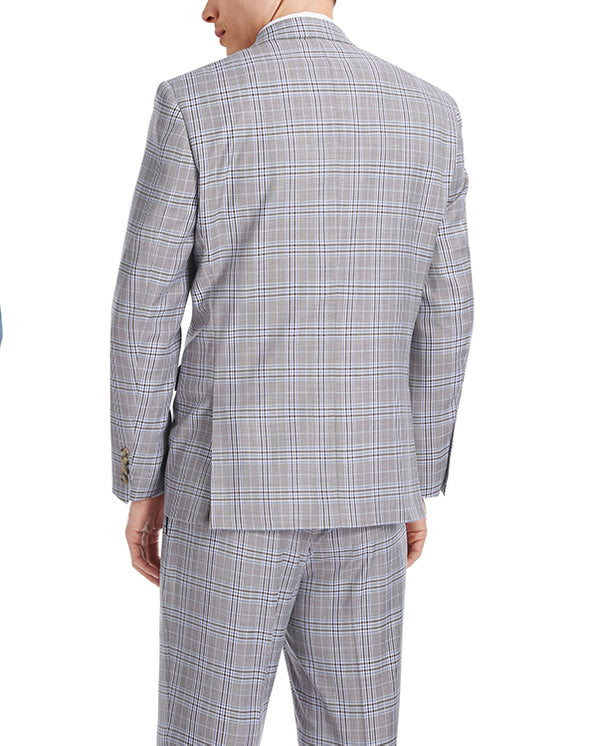Gerace Collection - 2 Piece Glen Plaid Slim Fit Suit In Gray - SUITS FOR MENS