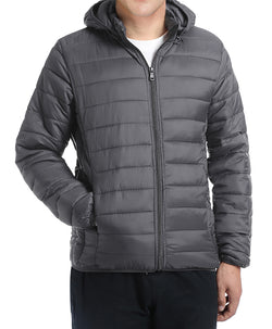 Men's Quilted Puffer Jacket with Detachable Hood in Gray