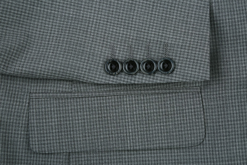 100% Wool Mini Check Pattern Regular Fit 2 Button Blazer in Gray