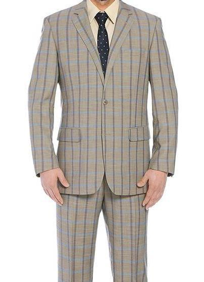 Bova Collection - Stretch Suit 2 Piece Tan Glen Plaid Regular Fit - SUITS FOR MENS