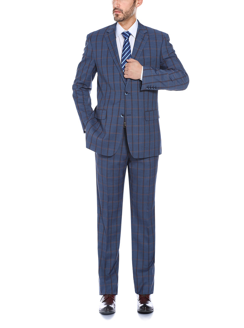 Bova Collection - Stretch Suit 2 Piece Blue Glen Plaid Regular Fit - SUITS FOR MENS