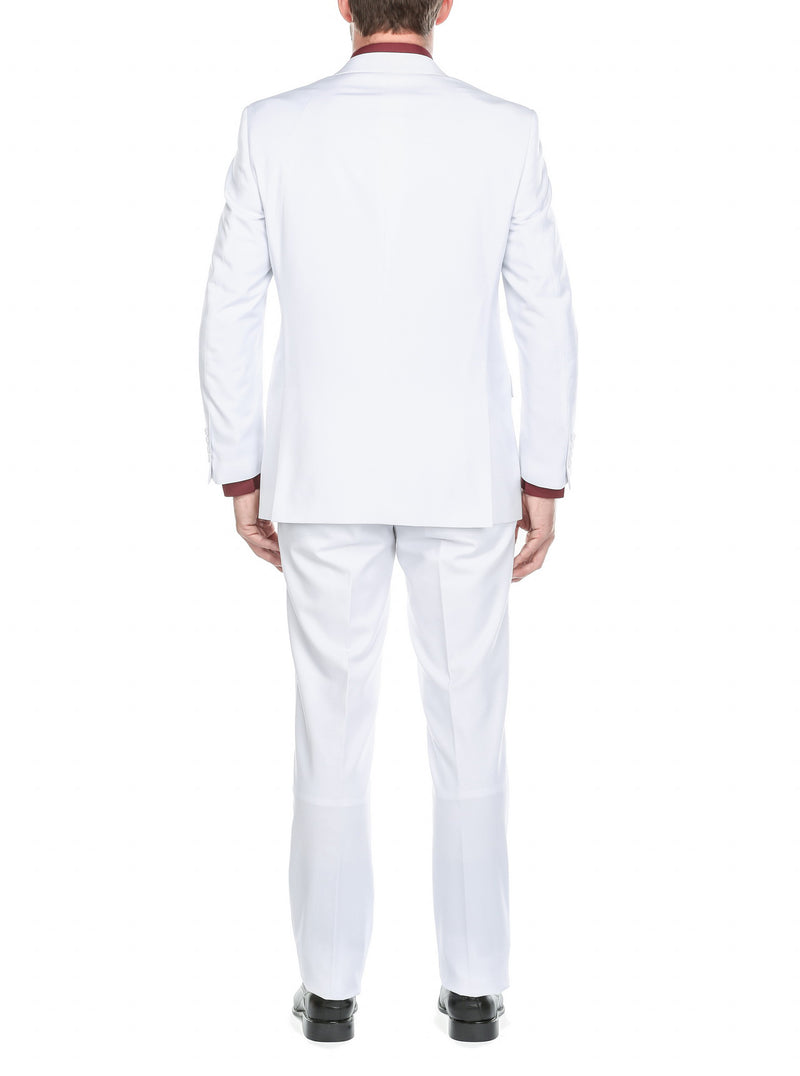 Vanderbilt Collection - Classic 2 Piece Suit 2 Buttons Regular Fit In White - SUITS FOR MENS