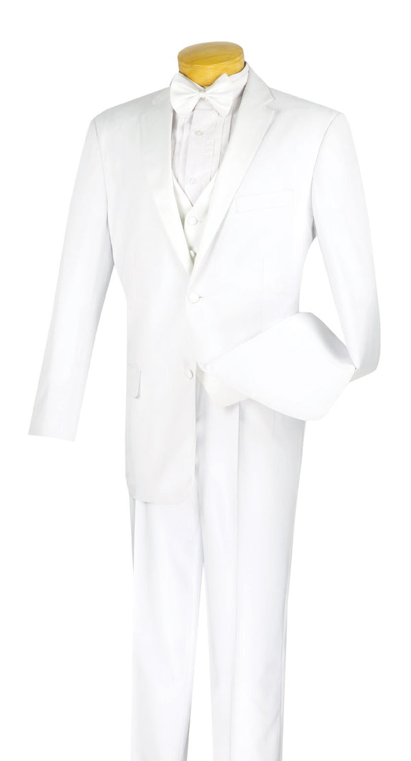 Regular Fit White Tuxedo 4 Piece with Vest and Bow Tie