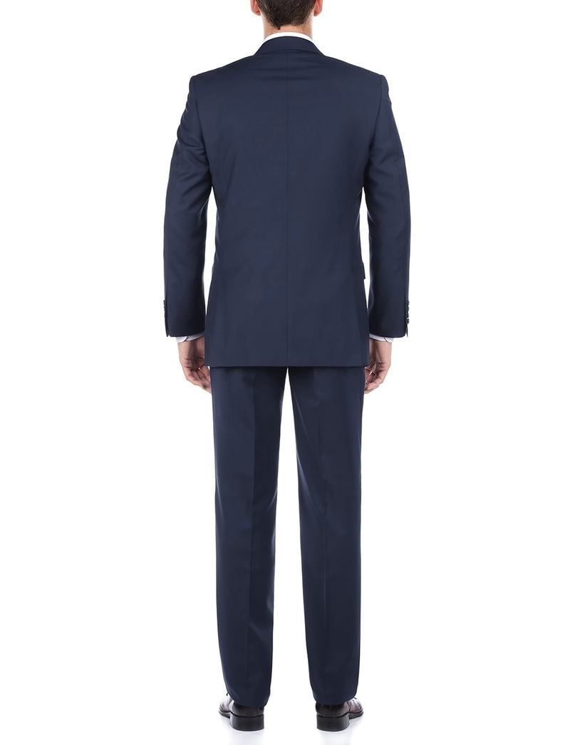 Bevagna Collection - 100% Wool Regular Fit 2 Piece Suit 2 Button in Blue - SUITS FOR MENS