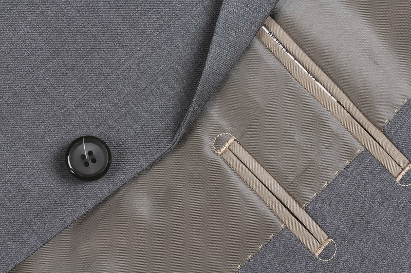 Bevagna Collection - 100% Virgin Wool Regular Fit 2 Piece Suit 2 Button in Gray - SUITS FOR MENS