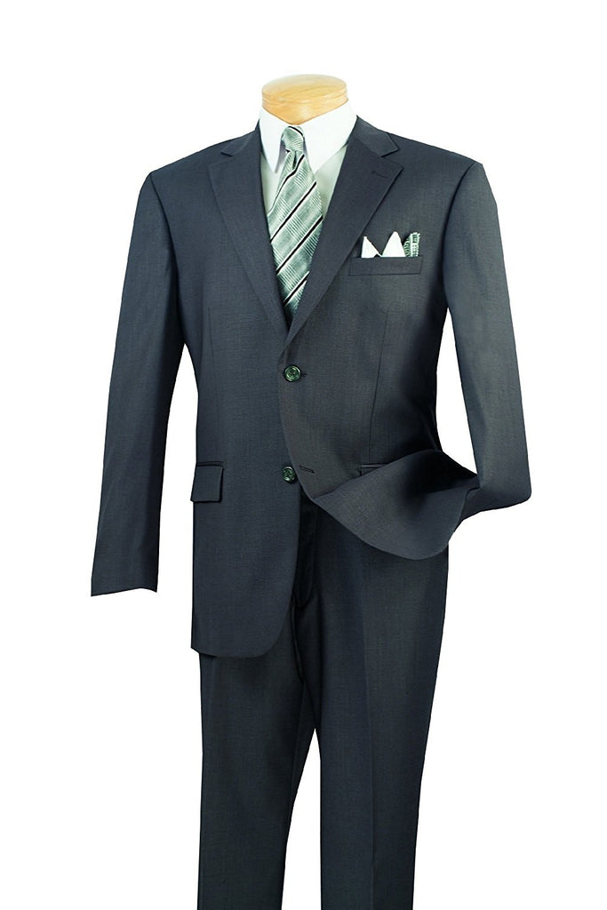 Men's Formal Wear Classic Fit 2 Buttons Design Solid Color Heather Gray - SUITS OUTLETS