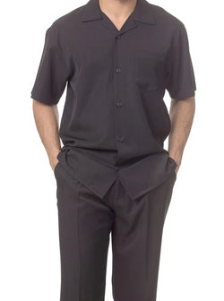 Men's 2 Piece Walking Suit Summer Short Sleeves in Black - SUITS FOR MENS