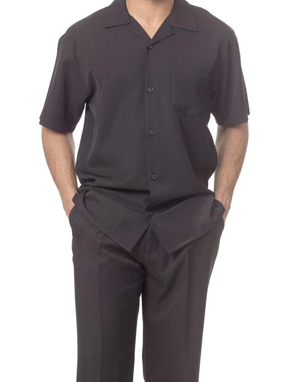 Men's 2 Piece Walking Suit Summer Short Sleeves in Black