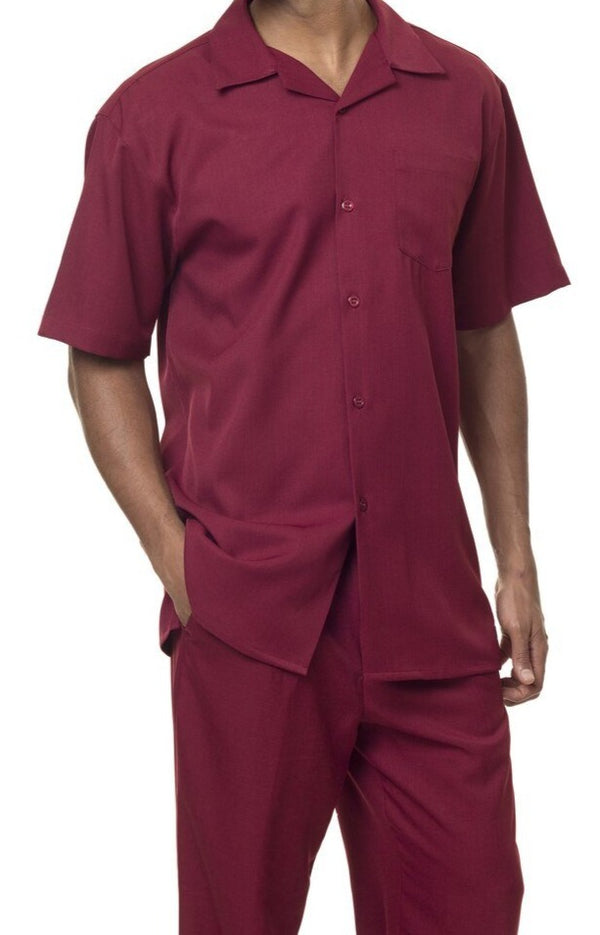 Men's 2 Piece Walking Suit Summer Short Sleeves in Burgundy
