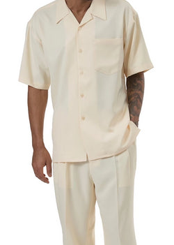Men's 2 Piece Walking Suit Summer Short Sleeves in Butter - SUITS FOR MENS
