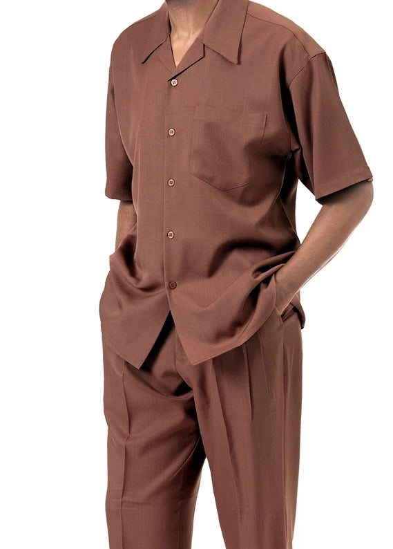 Men's 2 Piece Walking Suit Summer Short Sleeves in Cinnamon - SUITS FOR MENS