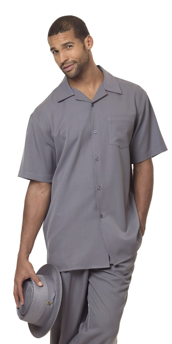 Men's 2 Piece Walking Suit Summer Short Sleeves in Gray