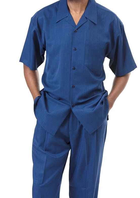 Men's 2 Piece Walking Suit Summer Short Sleeves in Sapphire - SUITS FOR MENS