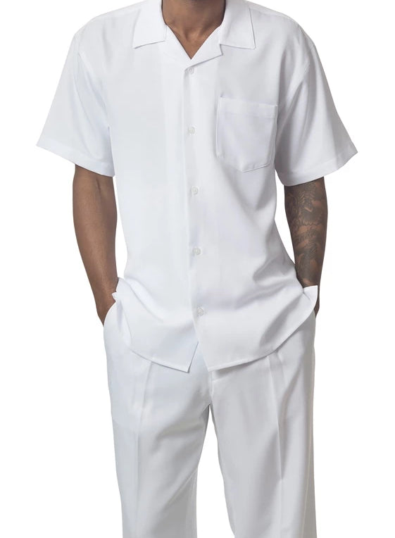 Men's 2 Piece Walking Suit Summer Short Sleeves in White