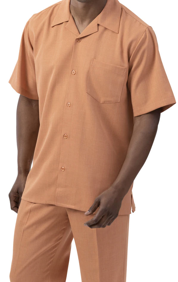Men's 2 Piece Walking Suit Summer Short Sleeves in Apricot