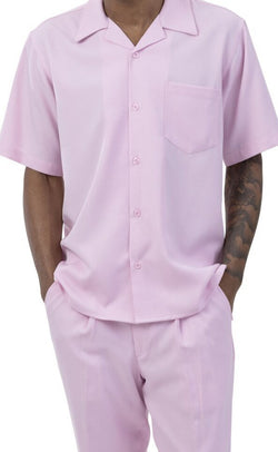 Men's 2 Piece Walking Suit Summer Short Sleeves in Pink