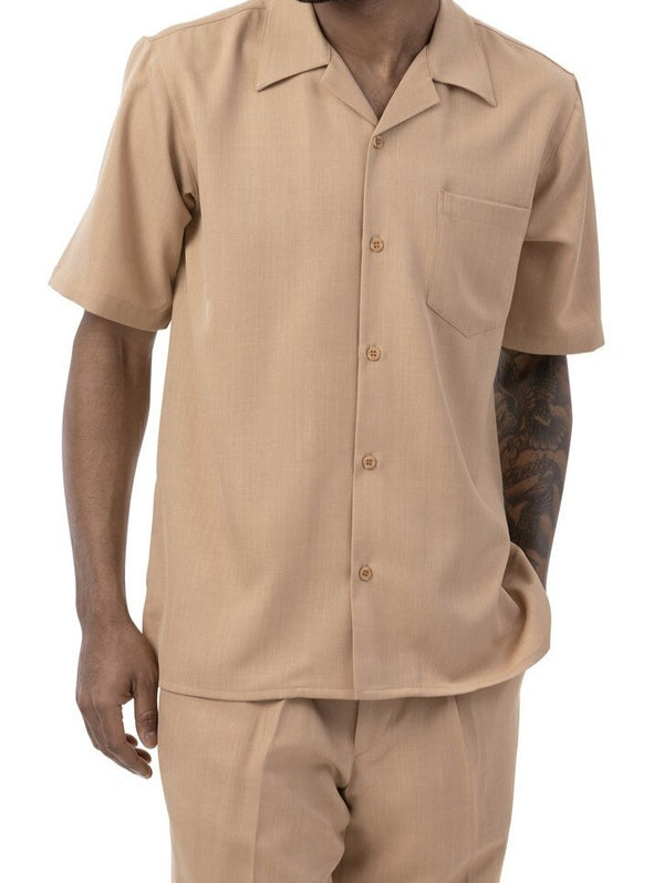 Men's 2 Piece Walking Suit Summer Short Sleeves in Tan