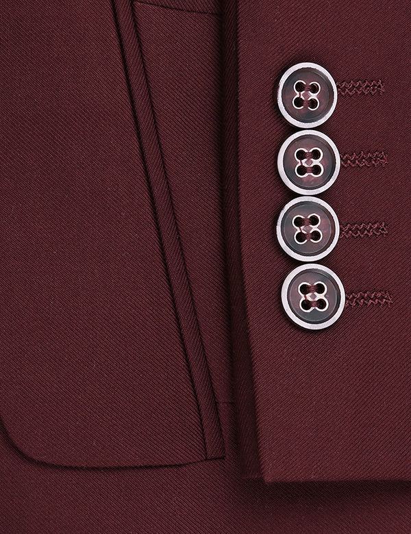 Vanderbilt Collection - Classic 2 Piece Suit 2 Buttons Regular Fit In Burgundy