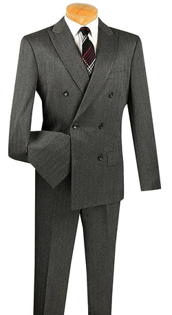 Slim Fit Double Breasted Suit Herringbone Stripe in Charcoal - SUITS OUTLETS