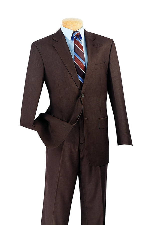 Nola Collection - Business Casual Suit Regular Fit 2 Pieces 2 Buttons in Brown - Mens Suits