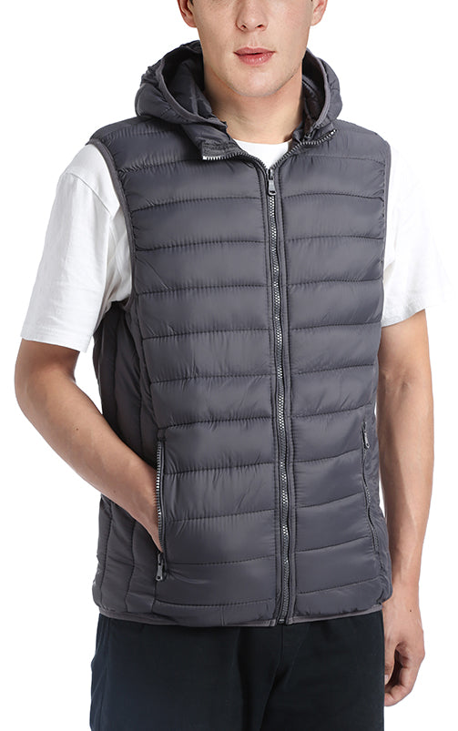 Men's Winter Quilted Puffer Vest with Detachable Hood in Gray