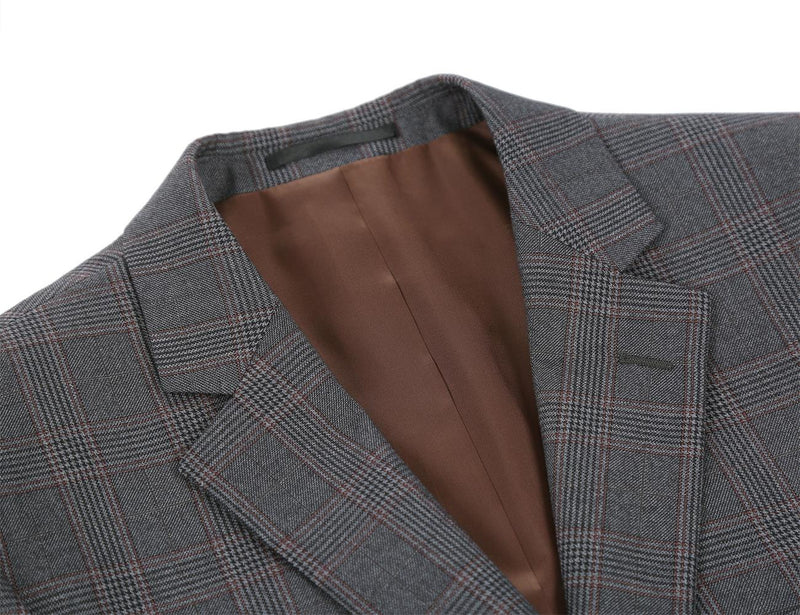 Trevi Collection - 2 Piece Suit 2 Buttons Glen Plaid Regular Fit In Gray