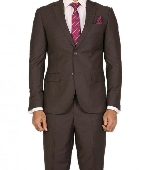 Bacchus Collection - Regular Fit Suit 2 Button 2 Piece in Brown - SUITS FOR MENS