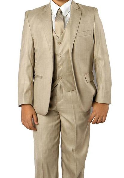 Classic Boy Suit 5 Piece Set Beige - SUITS FOR MENS