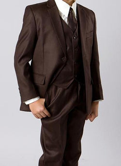 Classic Boy Suit 5 Piece Set Brown - SUITS FOR MENS