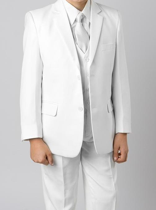 Classic Boy Suit 5 Piece Set White - SUITS FOR MENS