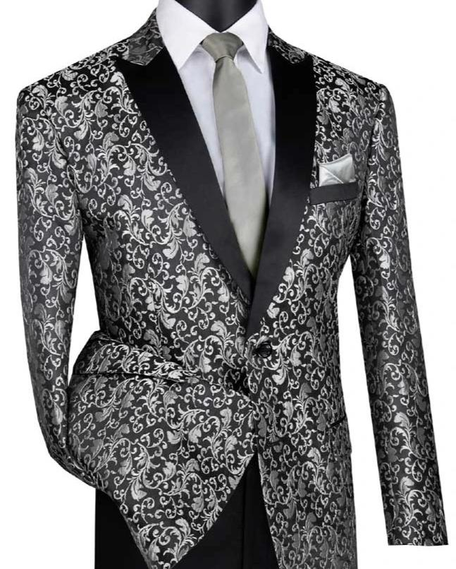 Silver Regular Fit Floral Pattern Jacket Peak Lapel