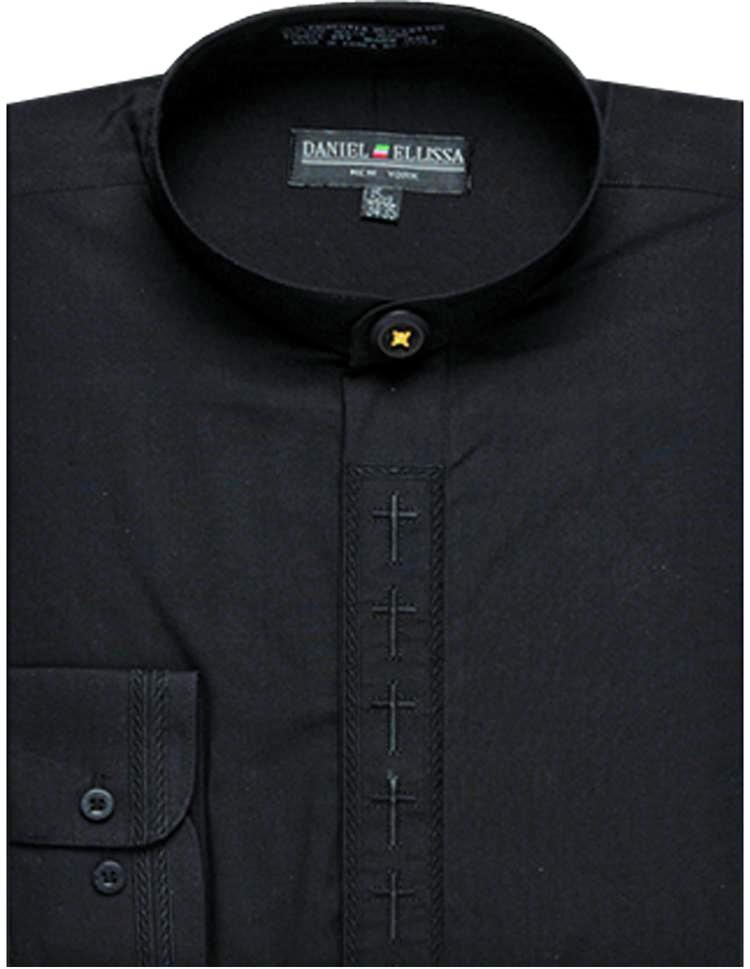 Men's Banded Collar Embroidered Shirt in Black/Black - SUITS FOR MENS