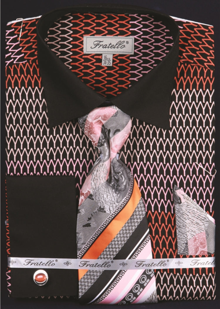 Men's Printed Tone on Tone Shirts with Tie and Handkerchief in Black/Orange - SUITS OUTLETS