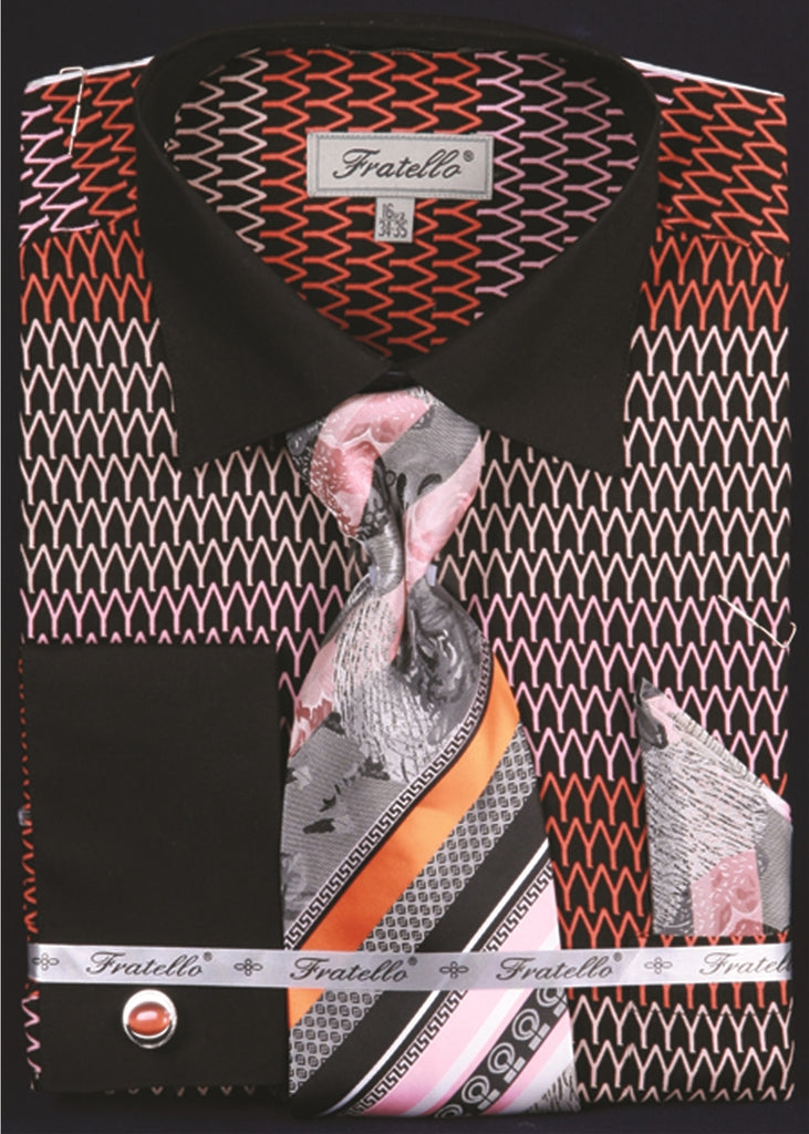 Men's Printed Tone on Tone Shirt with Tie and Handkerchief in Black/Orange - SUITS FOR MENS